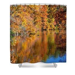 Reflected Fall Foliage Shower Curtain