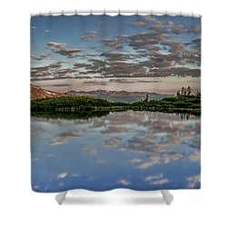 Shower Curtain featuring the photograph Reflection In A Mountain Pond by Don Schwartz