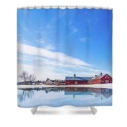Reflection Of A Barn In Winter Shower Curtain