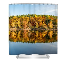 Reflection Of Autumn Shower Curtain by Andreas Levi
