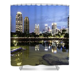 Reflection Of Jakarta Business District Skyline During Blue Hour Shower Curtain