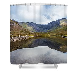 Shower Curtain featuring the photograph Reflection Of Macgillycuddy's Reeks And Carrauntoohil In Lough E by Semmick Photo
