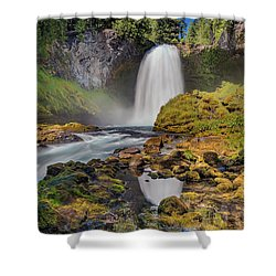 Reflection Of Sahalie Falls Shower Curtain by David Gn