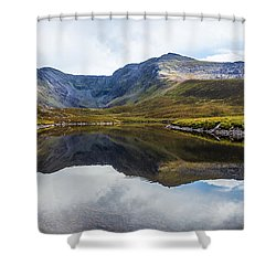 Shower Curtain featuring the photograph Reflection Of The Macgillycuddy's Reeks In Lough Eagher by Semmick Photo