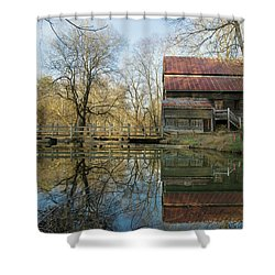 Shower Curtain featuring the photograph Reflection On A Grist Mill by George Randy Bass