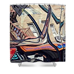 Shower Curtain featuring the photograph Reflection On A Parked Car 18 by Sarah Loft
