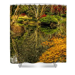 Reflections At Japanese Gardens Shower Curtain by Barbara Bowen