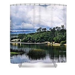Reflections At Nicasio Reservoir  Shower Curtain