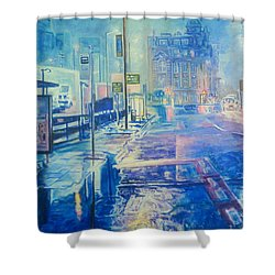 Reflections At Night In Manchester Shower Curtain