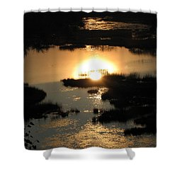 Reflections At Sunset Shower Curtain by Barbara Yearty