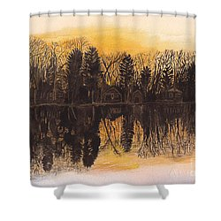 Reflections At Sunset On Bitely Lake Shower Curtain