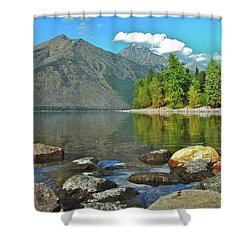 Reflections Glacier National Park  Shower Curtain by Michael Peychich