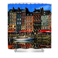 Reflections Honfleur France Shower Curtain