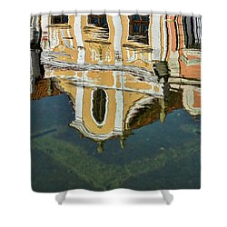 Shower Curtain featuring the photograph Reflections In A Czech Fountain by Stuart Litoff