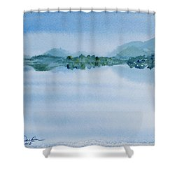 Reflection Of Mt Rugby In Bathurst Harbour Shower Curtain