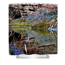 Reflections In Desert River Canyon Shower Curtain by Annie Gibbons