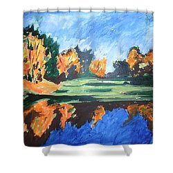 Shower Curtain featuring the painting Reflections In Rhapsody by Esther Newman-Cohen