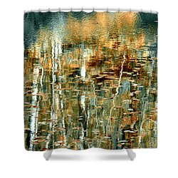 Shower Curtain featuring the photograph Reflections In Teal by Ann Bridges