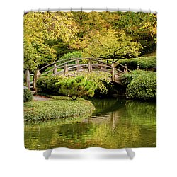 Shower Curtain featuring the photograph Reflections In The Japanese Garden by Iris Greenwell
