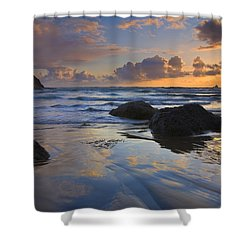Reflections In The Sand Shower Curtain by Mike  Dawson