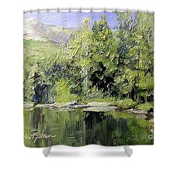 Shower Curtain featuring the painting Reflections by Laurie Rohner