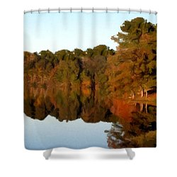 Shower Curtain featuring the painting Reflections Of A Pennsylvania Autumn by David Dehner