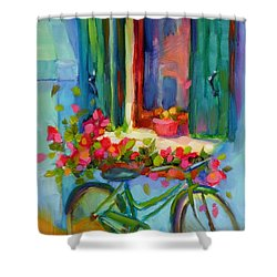 Shower Curtain featuring the painting Reflections Of Burano by Chris Brandley