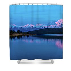 Sunset Reflections Of Denali In Wonder Lake Shower Curtain