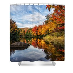 Reflections Of Fall Shower Curtain by Mark Papke