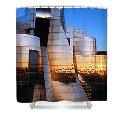 Reflections Of Sunset Shower Curtain by James Kirkikis