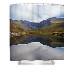 Reflections Of The Macgillycuddy's Reeks In Lough Eagher Shower Curtain by Semmick Photo
