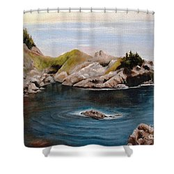 Shower Curtain featuring the painting Reflections Of The Past by Hazel Holland