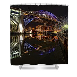 Reflections Of Veterans Memorial Bridge  Shower Curtain by Brent Durken
