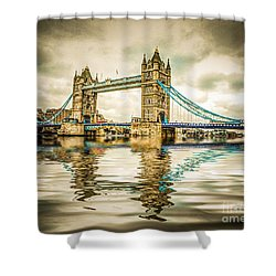 Reflections On Tower Bridge Shower Curtain