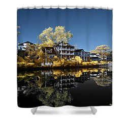Reflections On Wesley Lake Shower Curtain by Paul Seymour