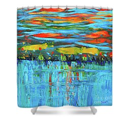 Reflections Sky And Landscape Abstract Shower Curtain