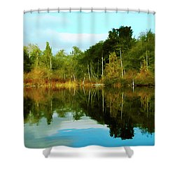 Shower Curtain featuring the digital art Reflections by Timothy Hack