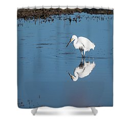 Reflections White Egret Shower Curtain