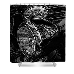 Reflective Ford In Black-and-white Shower Curtain