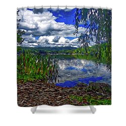 Shower Curtain featuring the painting Reflective Lake by Joan Reese