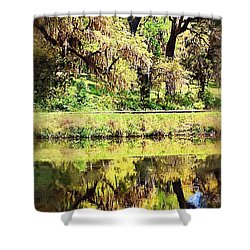 Shower Curtain featuring the photograph Reflective Live Oaks by Donna Bentley