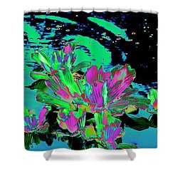 Reflexion Of Floating Flowers Shower Curtain