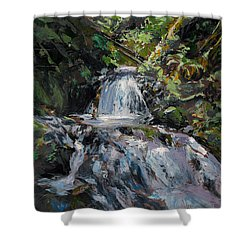Shower Curtain featuring the painting Refreshed - Rainforest Waterfall Impressionistic Painting by Karen Whitworth