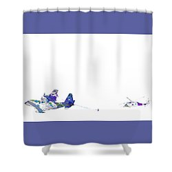 Shower Curtain featuring the digital art Refueling Watercolor On White by Bartz Johnson
