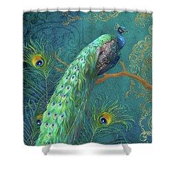 Regal Peacock 3 Midnight Shower Curtain