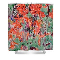 Regal Red Fall Foliage Shower Curtain by Esther Newman-Cohen