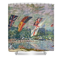 Regatta At Molesey Shower Curtain by Alfred Sisley