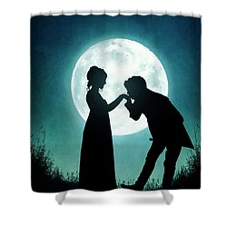 Regency Couple Silhouetted By The Full Moon Shower Curtain by Lee Avison