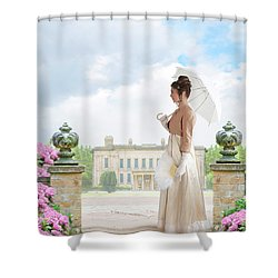 Regency Woman In The Grounds Of A Historic Mansion Shower Curtain