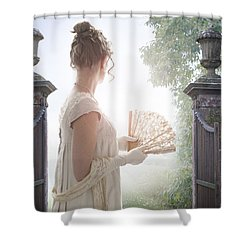Regency Woman Looking Through A Gateway Shower Curtain by Lee Avison